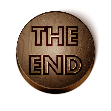 Brown line The End handwritten inscription icon isolated on white background. Closing movie frame. Movie ending screen. Wooden circle button. Vector Illustration