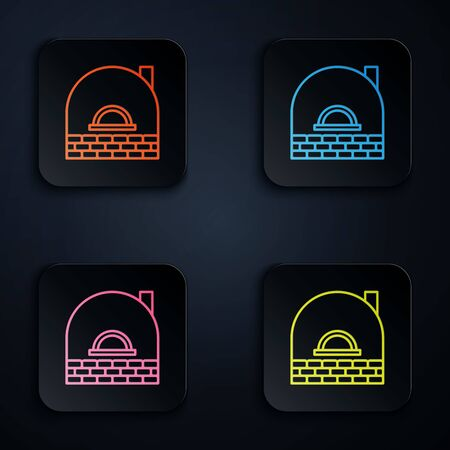 Color neon line Brick stove icon isolated on black background. Brick fireplace, masonry stove, stone oven icon.Set icons in colorful square buttons. Vector Illustration
