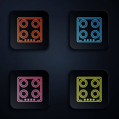 Color neon line Gas stove icon isolated on black background. Cooktop sign. Hob with four circle burners. Set icons in colorful square buttons. Vector Illustration