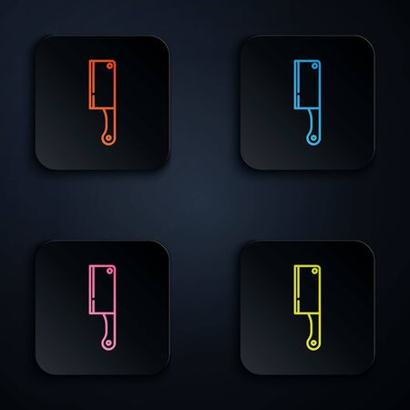 Color neon line Meat chopper icon isolated on black background. Kitchen knife for meat. Butcher knife. Set icons in colorful square buttons. Vector Illustration