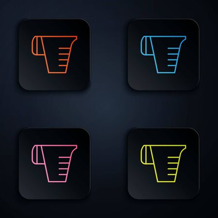 Color neon line Measuring cup to measure dry and liquid food icon isolated on black background. Plastic graduated beaker with handle. Set icons in colorful square buttons. Vector Illustration Stock Illustratie