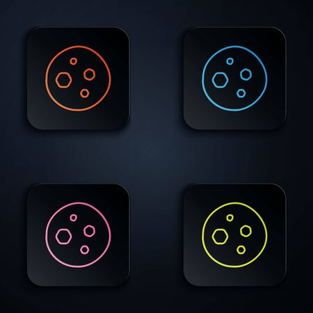 Color neon line Cookie or biscuit with chocolate icon isolated on black background. Set icons in colorful square buttons. Vector Illustration