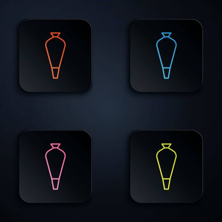Color neon line Pastry bag for decorate cakes with cream icon isolated on black background. Kitchenware and utensils. Set icons in colorful square buttons. Vector Illustration 矢量图像