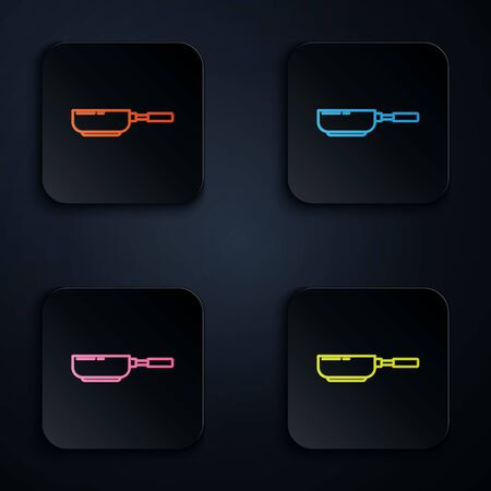 Color neon line Frying pan icon isolated on black background. Fry or roast food symbol. Set icons in colorful square buttons. Vector Illustration Illustration