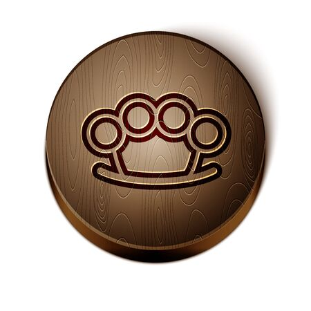Brown line Brass knuckles icon isolated on white background. Wooden circle button. Illustration