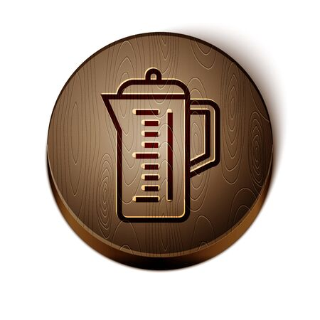 Brown line Teapot icon isolated on white background. Wooden circle button. Vector Illustration