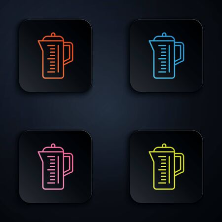 Color neon line Teapot icon isolated on black background. Set icons in colorful square buttons. Vector Illustration