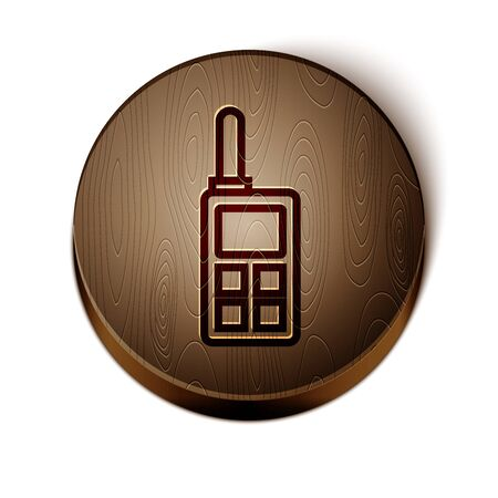 Brown line Walkie talkie icon isolated on white background. Portable radio transmitter icon. Radio transceiver sign. Wooden circle button.
