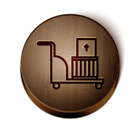 Brown line Electric hand truck and boxes icon isolated on white background. Dolly symbol. Wooden circle button. Vector Illustration Stock Illustratie