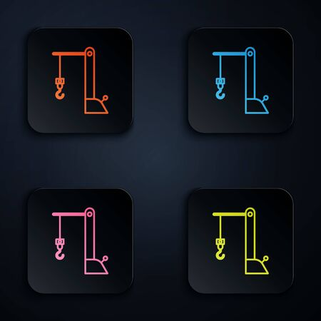 Color neon line Harbor port crane icon on black background. Cargo crane tower. Set icons in colorful square buttons. Vector Illustration