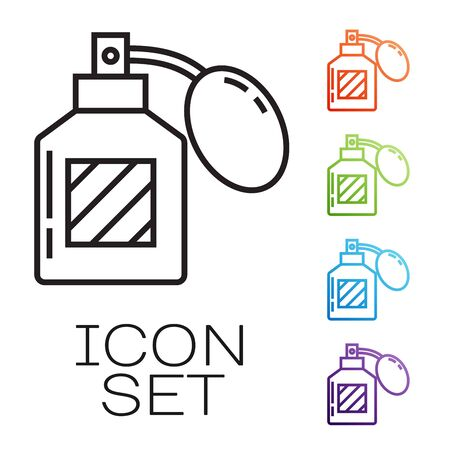 Black line Aftershave icon isolated on white background. Cologne spray icon. Male perfume bottle. Set icons colorful. Vector Illustration