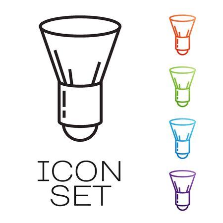 Black line Shaving brush icon isolated on white background. Barbershop symbol. Set icons colorful. Vector Illustration