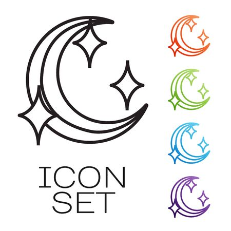 Black line Moon and stars icon isolated on white background. Set icons colorful. Vector Illustration