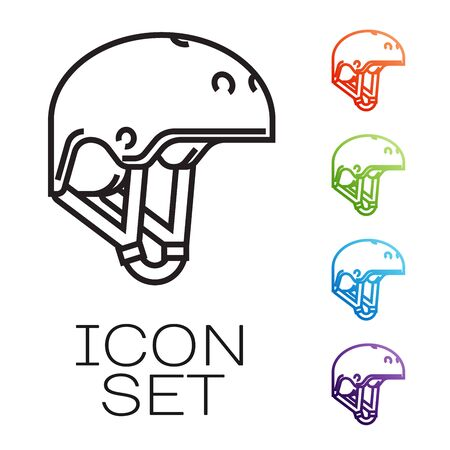 Black line Helmet icon isolated on white background. Extreme sport. Sport equipment. Set icons colorful. Vector Illustration