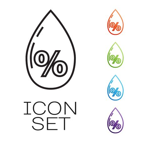 Black line Water drop percentage icon isolated on white background. Humidity analysis. Set icons colorful. Vector Illustration