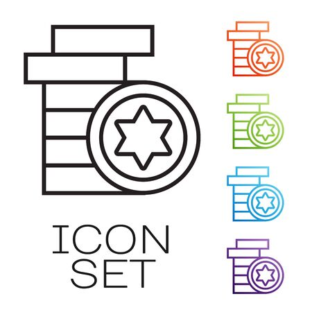 Black line Jewish coin icon isolated on white background. Currency symbol. Set icons colorful. Vector Illustration
