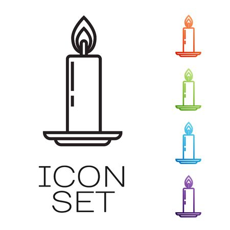 Black line Burning candle in candlestick icon isolated on white background. Old fashioned lit candle. Cylindrical candle stick with burning flame. Set icons colorful. Vector Illustration
