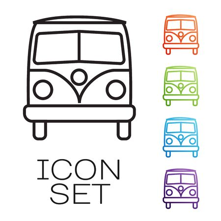 Black line Retro minivan icon isolated on white background. Old retro classic traveling van. Set icons colorful. Vector Illustration