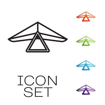 Schwarze Linie Drachenflieger-Symbol isoliert auf weißem Hintergrund. Extremsport. Stellen Sie Ikonen bunt ein. Vektorillustration