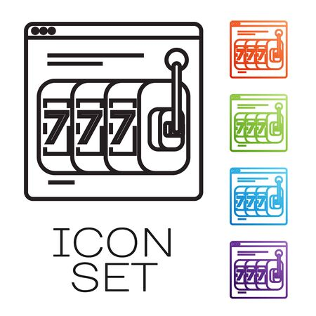 Black line Online slot machine with lucky sevens jackpot icon isolated on white background. Online casino. Set icons colorful. Vector Illustration Illustration