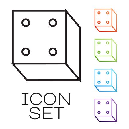 Black line Game dice icon isolated on white background. Casino gambling. Set icons colorful. Vector Illustration