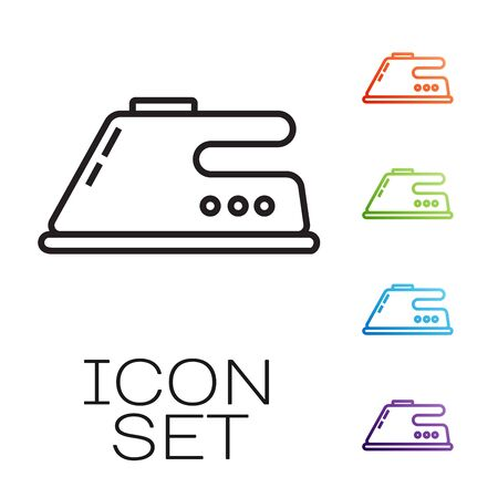Black line Electric iron icon isolated on white background. Steam iron. Set icons colorful. Vector Illustration 矢量图像