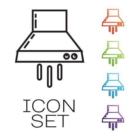 Black line Kitchen extractor fan icon isolated on white background. Cooker hood. Kitchen exhaust. Household appliance. Set icons colorful. Vector Illustration Vectores