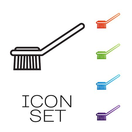 Black line Toilet brush icon isolated on white background. Set icons colorful. Vector Illustration Иллюстрация