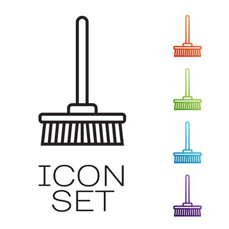 Black line Mop icon isolated on white background. Cleaning service concept. Set icons colorful. Vector Illustration Иллюстрация