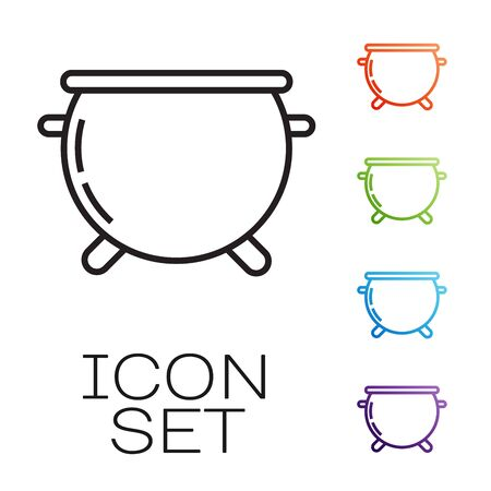 Black line Halloween witch cauldron icon isolated on white background. Happy Halloween party. Set icons colorful. Vector Illustration
