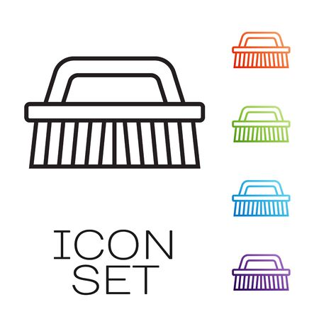 Black line Brush for cleaning icon isolated on white background. Set icons colorful. Vector Illustration