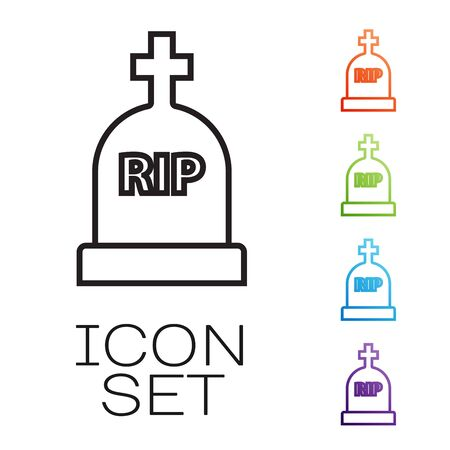 Black line Tombstone with RIP written on it icon isolated on white background. Grave icon. Set icons colorful. Vector Illustration