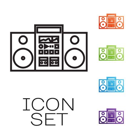 Black line Home stereo with two speakers icon isolated on white background. Music system. Set icons colorful. Vector Illustration Иллюстрация