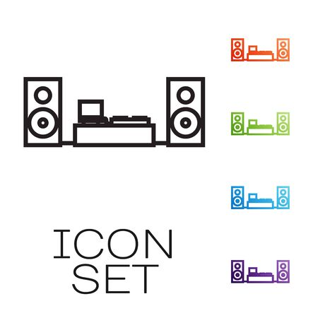 Black line Home stereo with two speaker s icon isolated on white background. Music system. Set icons colorful. Vector Illustration