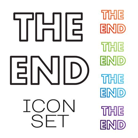 Black line The End handwritten inscription icon isolated on white background. Closing movie frame. Movie ending screen. Set icons colorful. Vector Illustration