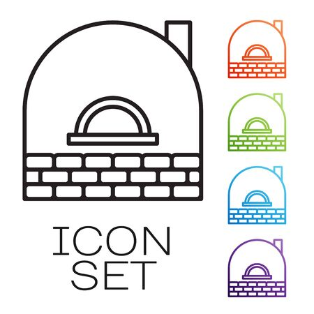Black line Brick stove icon isolated on white background. Brick fireplace, masonry stove, stone oven icon.Set icons colorful. Vector Illustration Illustration