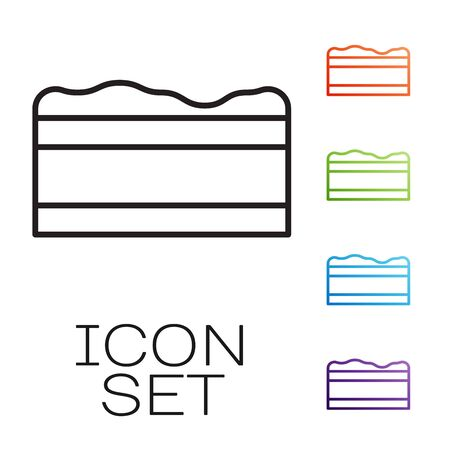 Black line Brownie chocolate cake icon isolated on white background. Set icons colorful. Vector Illustration
