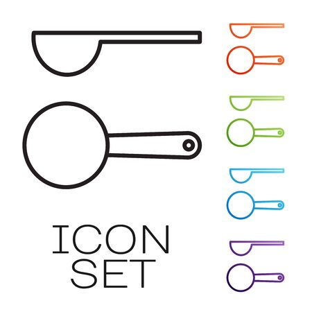 Black line Measuring spoon icon isolated on white background. Set icons colorful. Vector Illustration