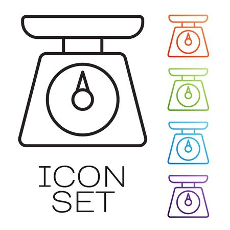 Black line Scales icon isolated on white background. Weight measure equipment. Set icons colorful. Vector Illustration Ilustração