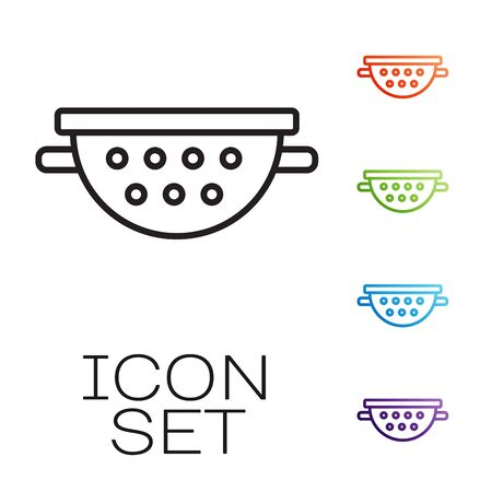 Black line Kitchen colander icon isolated on white background. Cooking utensil. Cutlery sign. Set icons colorful. Vector Illustration Vettoriali