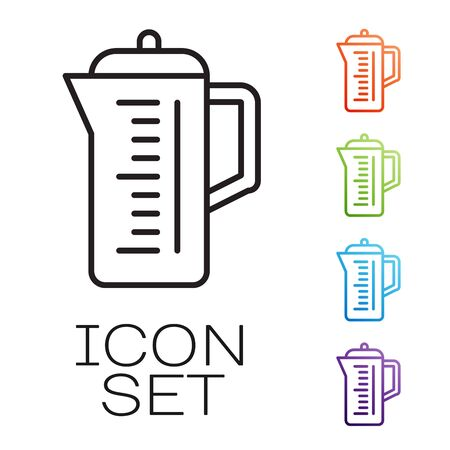 Black line Teapot icon isolated on white background. Set icons colorful. Vector Illustration