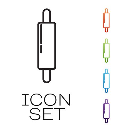 Black line Rolling pin icon isolated on white background. Set icons colorful. Vector Illustration