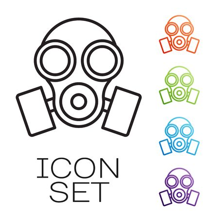 Black line Gas mask icon isolated on white background. Respirator sign. Set icons colorful. Vector Illustration Vectores