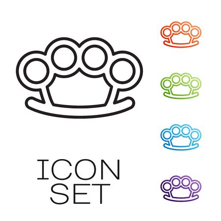 Black line Brass knuckles icon isolated on white background. Set icons colorful. Vector Illustration Vectores
