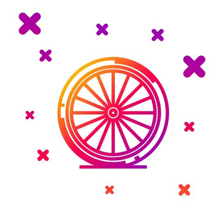 Color line Bicycle wheel icon isolated on white background. Bike race. Extreme sport. Sport equipment. Gradient random dynamic shapes. Vector Illustration