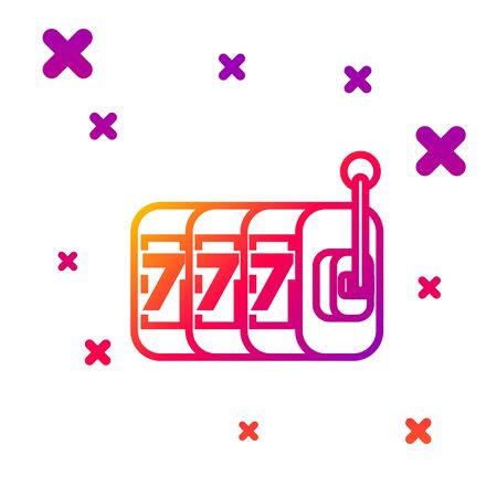Color line Slot machine with lucky sevens jackpot icon isolated on white background. Gradient random dynamic shapes. Vector Illustration Illustration