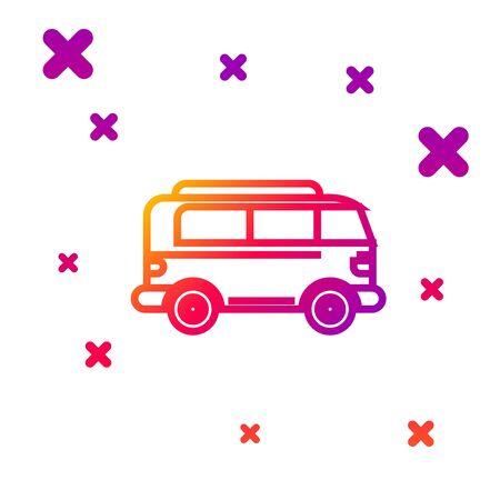 Color line Retro minivan icon isolated on white background. Old retro classic traveling van. Gradient random dynamic shapes. Vector Illustration Illustration