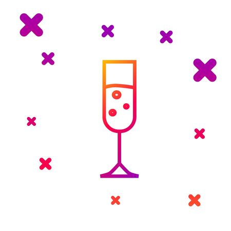 Color line Glass of champagne icon isolated on white background. Gradient random dynamic shapes. Vector Illustration Illustration
