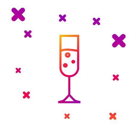 Color line Glass of champagne icon isolated on white background. Gradient random dynamic shapes. Vector Illustration Ilustração