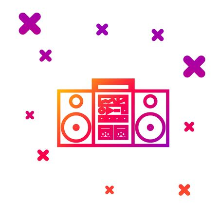 Color line Home stereo with two speakers icon isolated on white background. Music system. Gradient random dynamic shapes. Vector Illustration